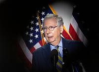 United States Senate Majority Leader Mitch McConnell (Republican of Kentucky) speaks during a news conference following GOP policy luncheons on Capitol Hill in Washington D.C., U.S., on Tuesday, June 9, 2020.  Credit: Stefani Reynolds / CNP/AdMedia