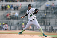 Starting pitcher Gregory Santos (32) of the Augusta GreenJackets delivers a pitch in a game against the Columbia Fireflies on Thursday, July 11, 2019 at Segra Park in Columbia, South Carolina. Columbia won, 5-2. (Tom Priddy/Four Seam Images)