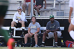 31 August 2014: UAB head coach Harold Warren (right) with assistant coaches Rebecca Whittle (center) and Garrett Linquist (left). The Duke University Blue Devils hosted the University of Alabama Birmingham Blazers at Koskinen Stadium in Durham, North Carolina in a 2014 NCAA Division I Women's Soccer match. Duke won the game 3-1.