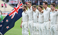29th November 2019, Hamilton, New Zealand;  Kane Willaimson and NZ Black Caps players line up for the national anthems on day 1 of the 2nd international cricket test match between New Zealand and England at Seddon Park, Hamilton, New Zealand. Friday 29 November 2019