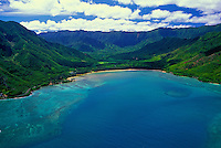 Aerial view of Kahana Bay Beach Park and Kahana Valley State park along Oahu's eastern coastline.