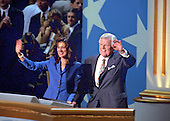 """Chicago, Il - August 29, 1996 -- United States Senator Edward M. """"Ted"""" Kennedy (Democrat of Massachusetts), right, and his wife, Vicki, left, wave to supporters after he made remarks on the final night of the 1996 Democratic National Convention at the United Center in Chicago, Illinois on Thursday, August 29, 1996.Credit: Ron Sachs / CNP"""