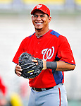 3 March 2011: Washington Nationals' catcher Wilson Ramos warms up prior to a Spring Training game against the St. Louis Cardinals at Roger Dean Stadium in Jupiter, Florida. The Cardinals defeated the Nationals 7-5 in Grapefruit League action. Mandatory Credit: Ed Wolfstein Photo