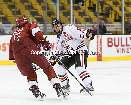 Dan Ford (Harvard - 5), Mike McLaughlin (Northeastern - 18) - The Harvard University Crimson defeated the Northeastern University Huskies 3-2 in the 2012 Beanpot consolation game on Monday, February 13, 2012, at TD Garden in Boston, Massachusetts.