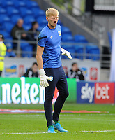 Huddersfield Town's Ryan Schofield during the pre-match warm-up <br /> <br /> Photographer Ian Cook/CameraSport<br /> <br /> The EFL Sky Bet Championship - Cardiff City v Huddersfield Town - Wednesday August 21st 2019 - Cardiff City Stadium - Cardiff<br /> <br /> World Copyright © 2019 CameraSport. All rights reserved. 43 Linden Ave. Countesthorpe. Leicester. England. LE8 5PG - Tel: +44 (0) 116 277 4147 - admin@camerasport.com - www.camerasport.com