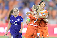 Houston, TX - Saturday Sept. 03, 2016: Kealia Ohai celebrates scoring, Carli Lloyd during a regular season National Women's Soccer League (NWSL) match between the Houston Dash and the Orlando Pride at BBVA Compass Stadium.