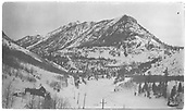 Winter panorama of Yellow Mountain with RGS High Line bridges above the base crossing to Ophir.<br /> RGS  Ophir Loop, CO