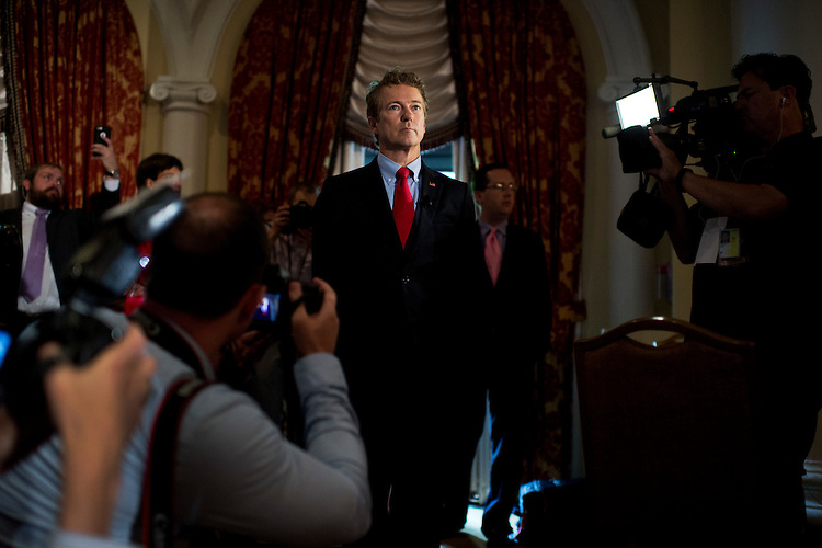 UNITED STATES - JUNE 18: Sen. Rand Paul, R-Ky., prepares to address the Faith & Freedom Coalition's Road to Majority conference which featured speeches by conservative politicians at the Omni Shoreham Hotel, June 18, 2015. (Photo By Tom Williams/CQ Roll Call)