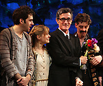 Adam Chandler-Berat, Celia Keenan-Bolger, Christian Borle, Roger Rees & Alex Timbers.during the Broadway Opening Night Performance Curtain Call for 'Peter And The Starcatcher' at the Brooks Atkinson Theatre on 4/15/2012 in New York City.