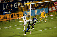 CARSON, CA - SEPTEMBER 21: Zlatan Ibrahimovic #9 of the Los Angeles Galaxy takes a shot on goal during a game between Montreal Impact and Los Angeles Galaxy at Dignity Health Sports Park on September 21, 2019 in Carson, California.