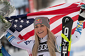 10th February 2019, Are, Sweden; Alpine skiing: Combination, ladies: downhill;  Lindsey Vonn from the USA on the podium in 3rd place