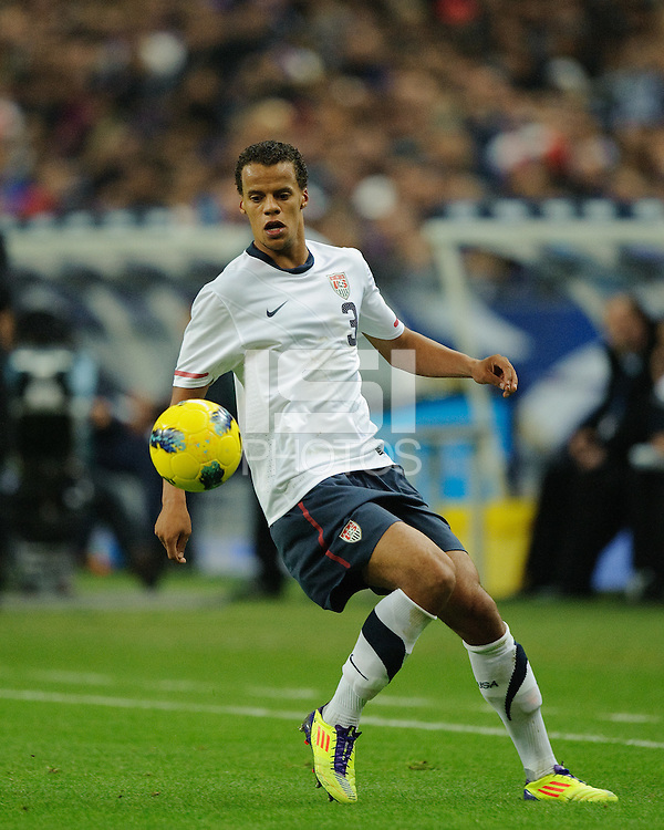 Timmy Chandler of team USA chases the ball during the friendly match France against USA at the Stade de France in Paris, France on November 11th, 2011.