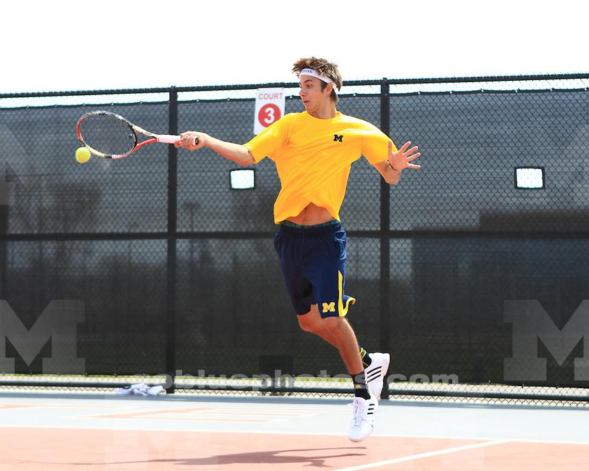 The University of Michigan men's tennis team beat Minnesota, 4-3, in the Big Ten semifinals at the Buckeye Varsity Tennis Center in Columbus, Ohio, on April 27, 2013.