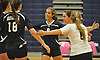 Massapequa No. 9 Gabriella Azzariti, center, and teammates celebrate as they close in on victory over Plainview JFK in a Nassau County varsity girls' volleyball match at Plainview JFK High School on Monday, October 19, 2015. Massapequa won 25-16, 25-8, 25-13.<br /> <br /> James Escher