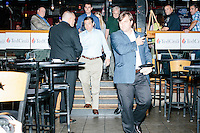 Texas senator and Republican presidential candidate Ted Cruz leaves after speaking to a crowd at aa business round-table at the Draft Sports Bar and Grille in Concord, New Hampshire.