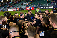 Bath Rugby players celebrate the win after the match. Heineken Champions Cup match, between Bath Rugby and Wasps on January 12, 2019 at the Recreation Ground in Bath, England. Photo by: Patrick Khachfe / Onside Images