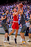 18 February 2018: Hartford University Hawk Guard JasonDunne, a Junior from Matawan, NJ, in action against the University of Vermont Catamounts at Patrick Gymnasium in Burlington, Vermont. The Catamounts fell to the Hawks 69-68 in their America East Conference matchup. Mandatory Credit: Ed Wolfstein Photo *** RAW (NEF) Image File Available ***