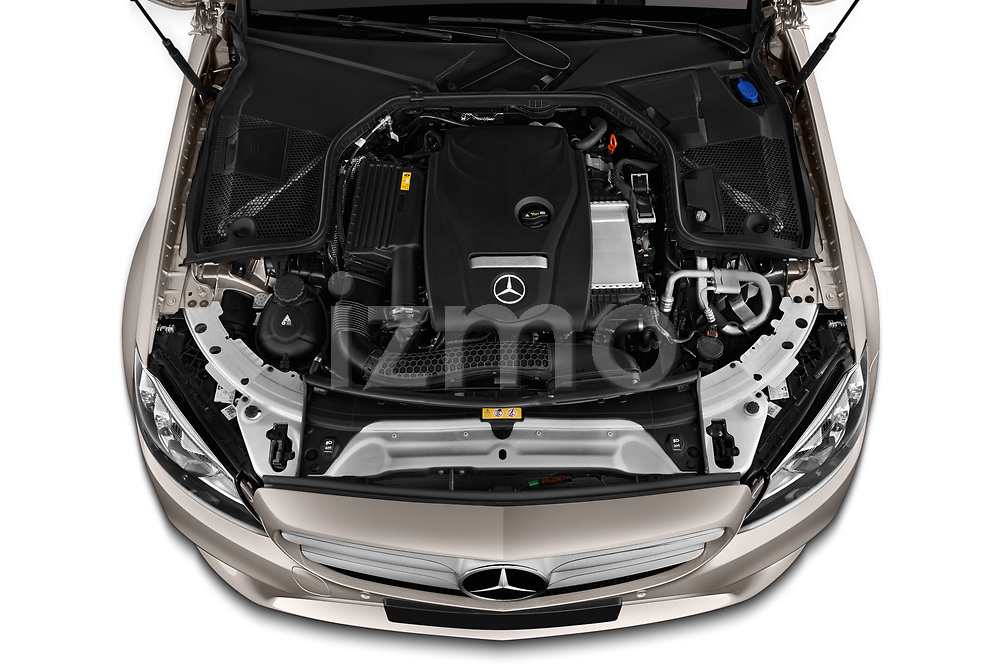 Car stock 2019 Mercedes Benz C Class Business Solution 4 Door Sedan engine high angle detail view