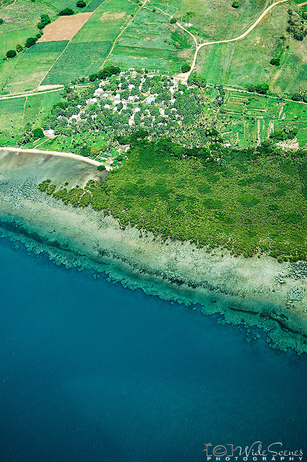 Aerial view of the coast south of Nadi near Momi Bay, Fiji Islands