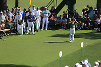 Rickie Fowler (USA) on the 18th tee during the 1st round at the The Masters , Augusta National, Augusta, Georgia, USA. 11/04/2019.<br /> Picture Fran Caffrey / Golffile.ie<br /> <br /> All photo usage must carry mandatory copyright credit (&copy; Golffile | Fran Caffrey)