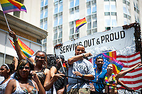 Thousands of marchers and spectators turn out for the 43rd annual Lesbian, Gay, Bisexual and Transgender Pride Parade on Fifth Avenue in New York on Sunday, June 24, 2012. The parade took place on the one year anniversary of the legalization of gay marriage in New York.  (© Richard B. Levine)