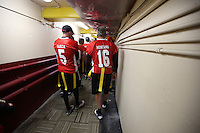 SAN FRANCISCO, CA - JULY 12:  Former San Francisco 49ers greats Jeff Garcia and Joe Montana walk in the tunnel before the Legends of Candlestick flag football game at Candlestick Park in San Francisco, California on July 12, 2014. Photo by Brad Mangin