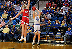 BROOKINGS, SD - FEBRUARY 22: Paiton Burckhard #33 of the South Dakota State Jackrabbits shoots a jumper against Hannah Sjerven #34 of the South Dakota Coyotes Saturday at Frost Arena in Brookings, SD. (Photo by Dave Eggen/Inertia)