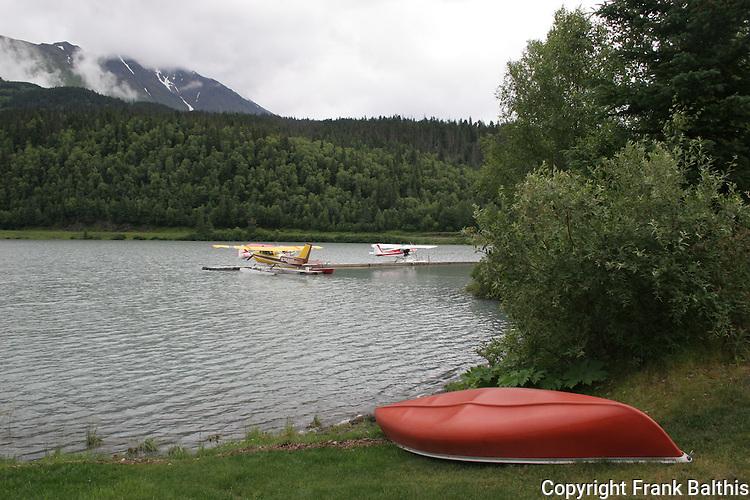 Canoe and float planes on Seward Highway