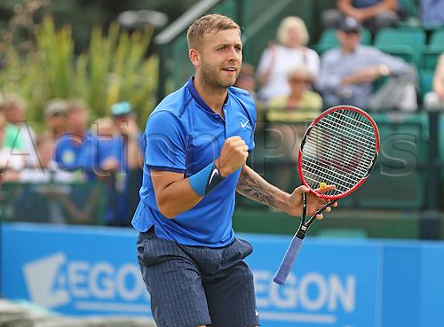 21.06.2016. Nottingham Tennis Centre, Nottingham, England. Aegon Open Mens ATP Tennis. Fist pump from Daniel Evans of Great Britain as he edges towards victory over Ricardas Berankis of Lithuania 2-6 7-6 6-2