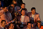 The victorious European Team hold the Ryder Cup during the closing ceremony of the 2006 Ryder Cup at The K Club..Photo: Eoin Clarke/Newsfile.