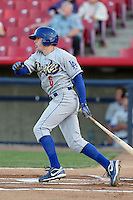 Adam Law #6 of the Rancho Cucamonga Quakes bats against the High Desert Mavericks at Stater Bros. Stadium on April 24, 2014 in Adelanto, California. Rancho Cucamonga defeated High Desert, 7-5. (Larry Goren/Four Seam Images)