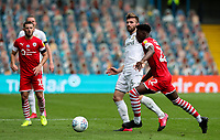 Leeds United's Stuart Dallas plays a ball past Barnsley's Clarke Oduor<br /> <br /> Photographer Alex Dodd/CameraSport<br /> <br /> The EFL Sky Bet Championship - Leeds United v Barnsley - Thursday 16th July 2020 - Elland Road - Leeds<br /> <br /> World Copyright © 2020 CameraSport. All rights reserved. 43 Linden Ave. Countesthorpe. Leicester. England. LE8 5PG - Tel: +44 (0) 116 277 4147 - admin@camerasport.com - www.camerasport.com