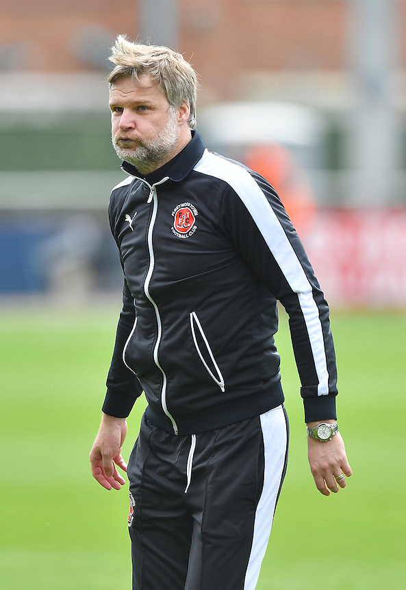 Relief on the face of Fleetwood Town's Manager Steven Pressley<br /> <br /> Photographer Dave Howarth/CameraSport<br /> <br /> Football - The Football League Sky Bet League One - Fleetwood Town v Crewe Alexandra - Sunday 8th May 2016 - Highbury Stadium - Fleetwood    <br /> <br /> &copy; CameraSport - 43 Linden Ave. Countesthorpe. Leicester. England. LE8 5PG - Tel: +44 (0) 116 277 4147 - admin@camerasport.com - www.camerasport.com