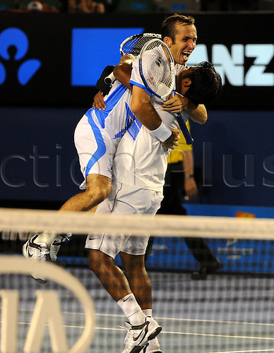 28 01 2012   Melbourne Australia.  Leander Paes l of India and Radek Stepanek of Czech Republic Celebrate After defeating Bob and Mike Bryan of The United States in their Men s Doubles Final Match AT 2012 Australian Open Tennis Championship AT Melbourne Park in Melbourne Australia  Leander Paes and Radek Stepanek Won 2 0 to Claim The Title