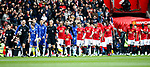 Chelsea and Manchester Utd teams walk out during the English Premier League match at Old Trafford Stadium, Manchester. Picture date: April 16th 2017. Pic credit should read: Simon Bellis/Sportimage