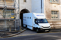 Pictured: A Prison van leaves Cardiff crown court. Monday 13th August 2018. <br /> Re: Following the discovery of the body of 54 year old David Gaut at an address in Long Row, in the Elliots Town area of New Tredegar, south Wales, on Saturday 4th August 2018, three men have been charged in relation to his death.<br /> 47-year-old Darren Evesham, 23-year-old Ieuan Harley and 51-year-old David Osbourne, all from the New Tredegar area, have each been charged with murder.<br /> All three are due to appear in Cardiff Crown Court on Monday, 13th August 2018.