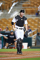 Glendale Desert Dogs Zack Collins (18), of the Chicago White Sox organization, during a game against the Salt River Rafters on October 19, 2016 at Camelback Ranch in Glendale, Arizona.  Salt River defeated Glendale 4-2.  (Mike Janes/Four Seam Images)