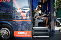 new teambus driver Giacomo Berlato (ITA/Nippo-Vini Fantini) at the start in Melide<br /> <br /> Giro d'Italia 2015<br /> stage 18: Melide (SUI) - Verbania (170km)