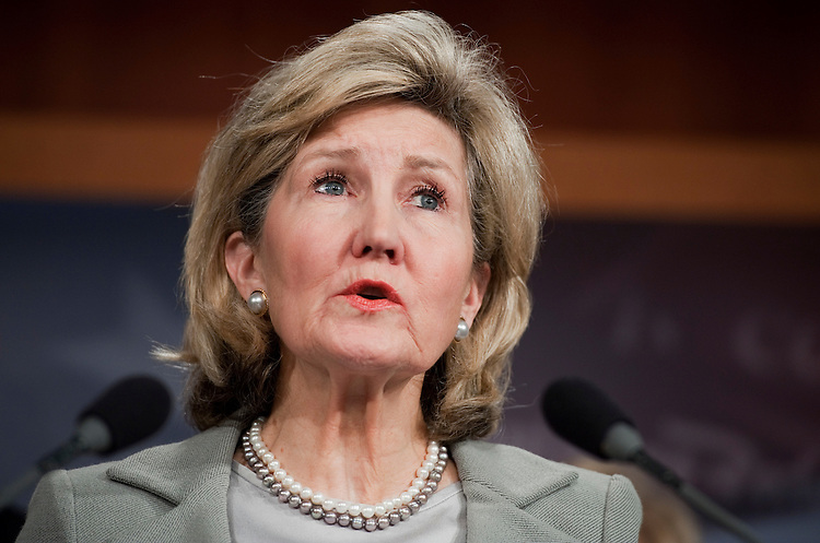 UNITED STATES - NOVEMBER 03:  Sen. Kay Bailey Hutchison, R-Texas, speaks at a bicameral news conference in the Capitol to call for Senate action on jobs bills passed by the House.  (Photo By Tom Williams/CQ Roll Call)