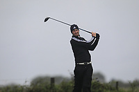 Andrew Wilson from England on the 8th tee during Round 3 Foursomes of the Men's Home Internationals 2018 at Conwy Golf Club, Conwy, Wales on Friday 14th September 2018.<br /> Picture: Thos Caffrey / Golffile<br /> <br /> All photo usage must carry mandatory copyright credit (&copy; Golffile | Thos Caffrey)
