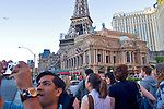 Las Vegas, U.S.A., America, Nevada, Paris Las Vegas hotel and casino, Crowd of tourists on the Strip,