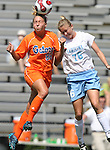 Florida's Shelley Lyle (88) and North Carolina's Ali Hawkins (76) challenge for a header on Sunday September 17th, 2006 at Koskinen Stadium on the campus of the Duke University in Durham, North Carolina. The University of North Carolina Tarheels defeated the University of Florida Gators 1-0 in an NCAA Division I Women's Soccer game.