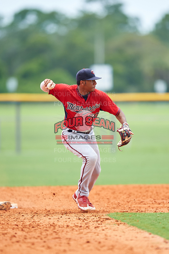 GCL Twins second baseman Ricky De La Torre (70) during the first game of a doubleheader against the GCL Rays on July 18, 2017 at Charlotte Sports Park in Port Charlotte, Florida.  GCL Twins defeated the GCL Rays 11-5 in a continuation of a game that was suspended on July 17th at CenturyLink Sports Complex in Fort Myers, Florida due to inclement weather.  (Mike Janes/Four Seam Images)
