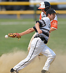 Carbondale's Vinny Rushing (front) loses the ball as he tried to tag out Waterloo's Tyson Roedl at second base. Waterloo defeated Carbondale in the Class 3A Salem baseball sectional championship game at Salem HS in Salem, IL on Saturday June 1, 2019.<br /> Tim Vizer/Special to STLhighschoolsports.com