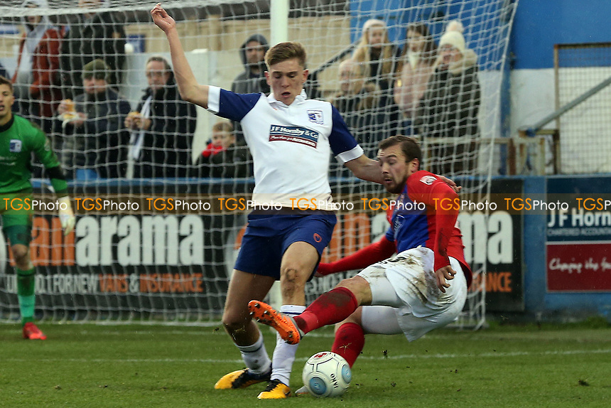 Jimmy Dunne of Barrow and Michael Cheek of Dagenham during Barrow vs Dagenham & Redbridge, Vanarama National League Football at the Furness Building Society Stadium on 9th December 2017