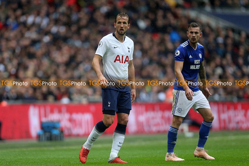 Harry Kane of Tottenham Hotspur and Joe Ralls of Cardiff City during Tottenham Hotspur vs Cardiff City, Premier League Football at Wembley Stadium on 6th October 2018