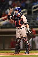 Tennessee Smokies catcher Taylor Davis (27) during a game against the Birmingham Barons on April 22, 2014 at Regions Field in Birmingham, Alabama.  Birmingham defeated Tennessee 14-3.  (Mike Janes/Four Seam Images)