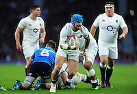 Jack Nowell of England goes on the attack. RBS Six Nations match between England and Italy on February 26, 2017 at Twickenham Stadium in London, England. Photo by: Patrick Khachfe / Onside Images