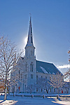 The First Baptist Church of Wakefield, MA, in snow on sunny day.