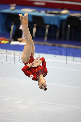 Aliya Mustafina of Russia  competes at the floor during the senior women apparatus final at the European Artistic Gymnastics Championship at National Indoor Arena in Birmingham, UK on May 2, 2010.